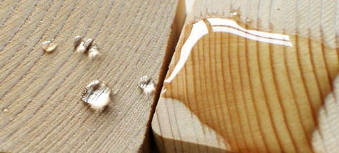 Legno idrorepellente, legno trattato, legno non trattato, legno impermeabile, impermeabilizzazione legno