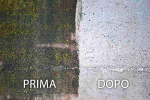 Trattamento Muro, Impermeabilizzazione Muro, Prima del trattamento, Dopo il trattamento, muschio, alghe